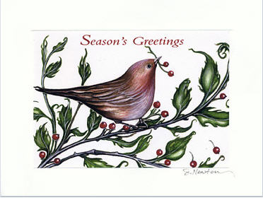 Christmas Card Design by Joy Newton with Bird