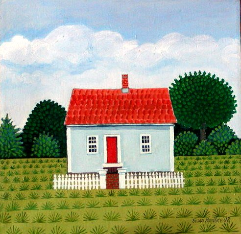 Small house with a bright red roof with trees in background & KIDS: Artist Susan Prentice - Red Roof memphite.com