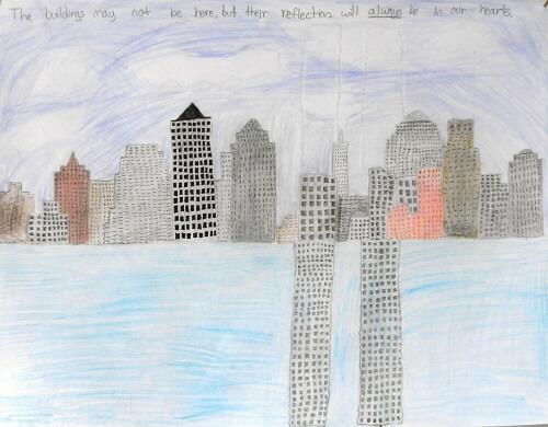 new york skyline drawing. river and New York skyline