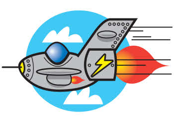 cartoon drawing of a jet plane flying