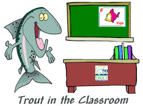 Cartoon Drawing of a Trout as a Teacher in a Classroom