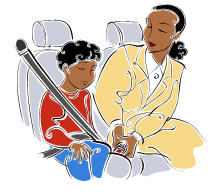Drawing of a Mother Putting on a Child's Seat Belt