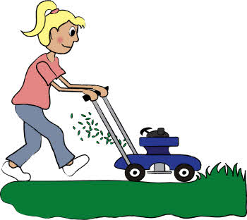 Cartoon Drawing of a Girl Mowing Grass