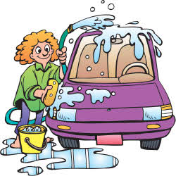 Cartoon Drawing of A Youth Washing a Car
