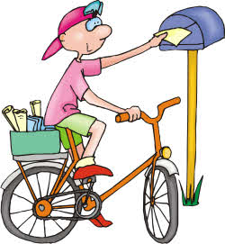 Drawing of a Boy making Deliveries on a Bike